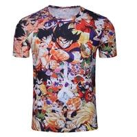 Japanese Anime Seven Dragon Beads Monkey King Prints Men T Shirt Casual Loose Street Culture Style