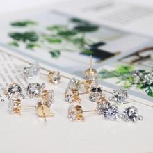 Golden Women Crystal Girls Ear Stud Findings With Hole Handmade Jewelry Silver DIY Earring Finding Zircon Girl 6/8mm Drop 10PCS