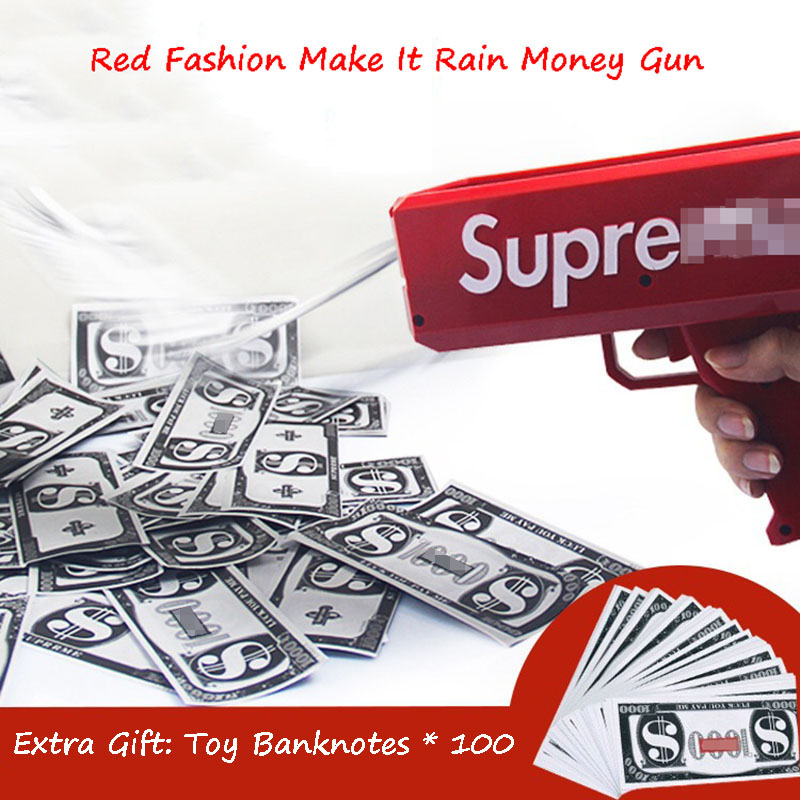 Make It Rain Money Gun Red Fashion Toy Christmas Gift Party Toys Game Cash Cannon Funny Money Gun Toy Pistol Toy