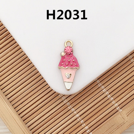 Wholesale 50PCS/Lot Enamel Animal Rabbit Ice Cream Enamel Necklace Pendant Gold Tone Oil Drop Floating Pendants Charm Craft