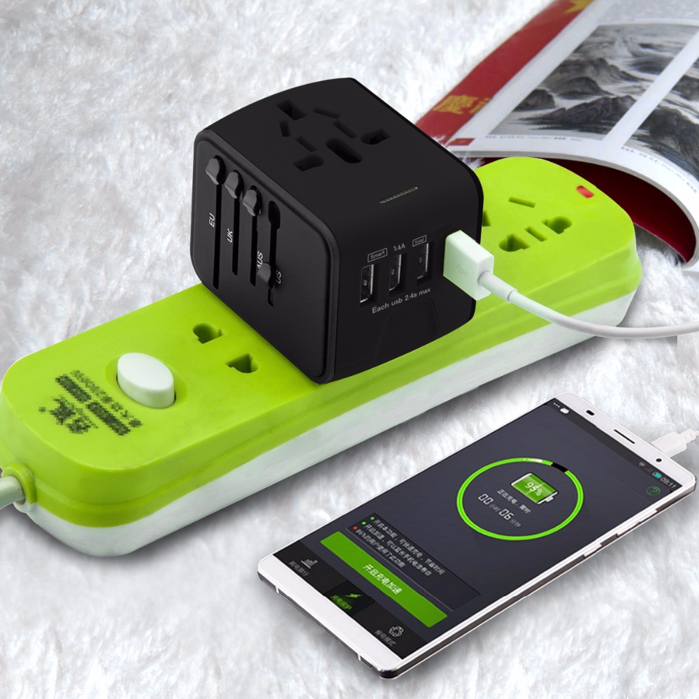 Lerbyee Travel Adapter International Universal Power Adapter All-in-one with 4 USB Worldwide Wall Power Plug Charger 2018 New
