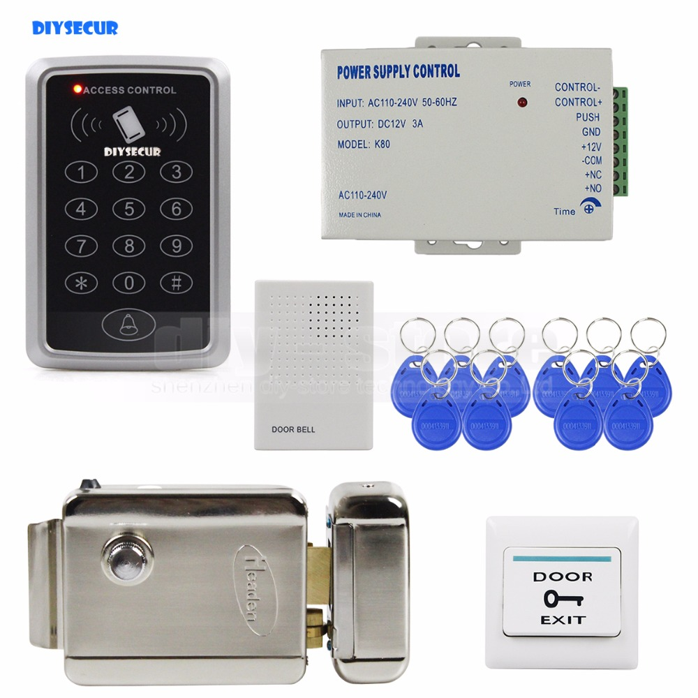 DIYSECUR Door Bell 125KHz Rfid Access Control System Full Kit Set + Electronic Door Lock + Power Supply + Exit Button стоимость