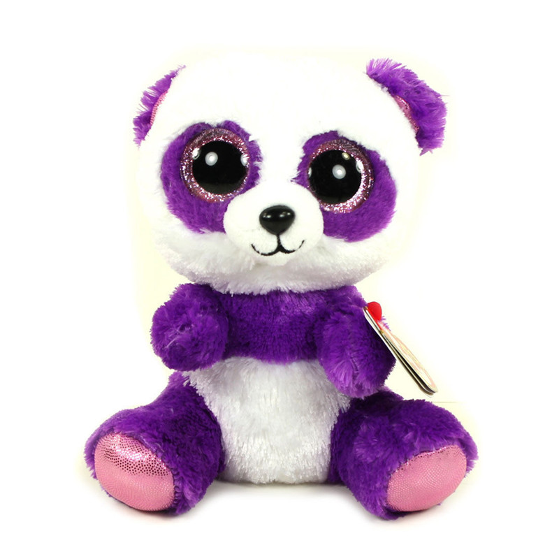 TY Beanie Boos Original 6 18cm Boom Boom the Purple Panda Beanie Baby Plush Stuffed Animal Collectible Soft Doll Toy Kids Gifts ynynoo hot ty beanie boos big eyes small unicorn plush toy doll kawaii stuffed animals collection lovely children s gifts lc0067