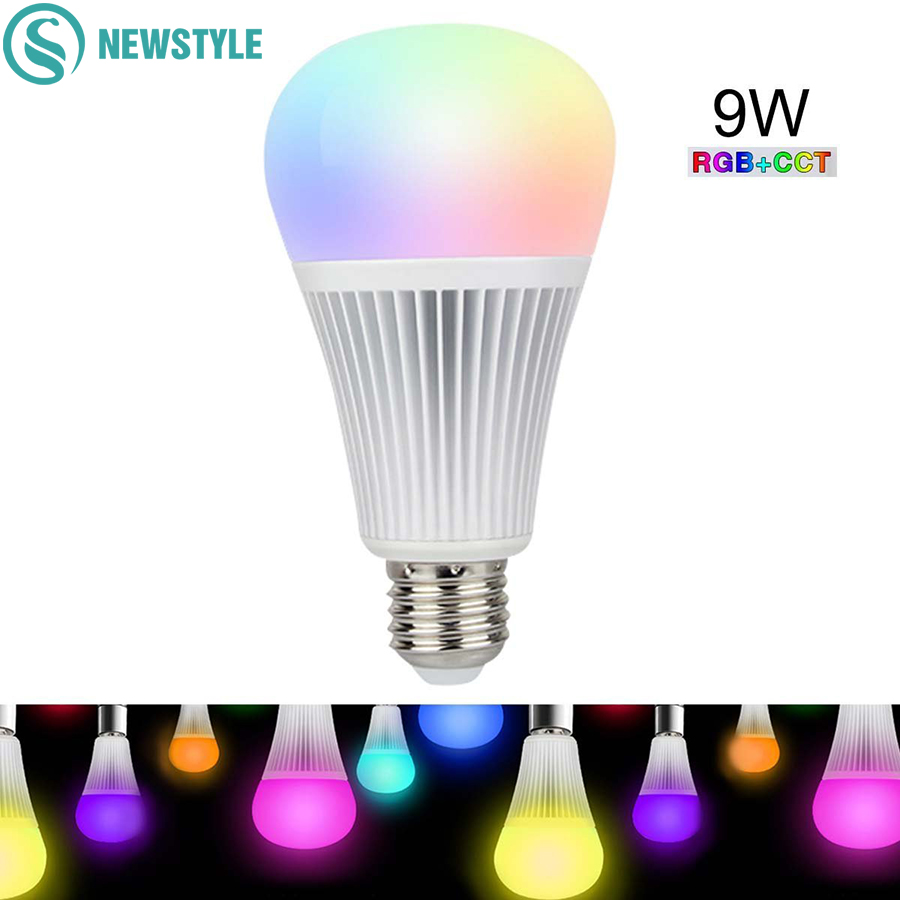 9W Mi Light LED Bulb E27 Dimmable LED Bulb Light RGB+CCT (2700-6000K) For Indoor Decoration led bulb 12w mi light e27 dimmable led bulb light rgb warm white white rgb cct spotlight indoor decoration ac85 265v