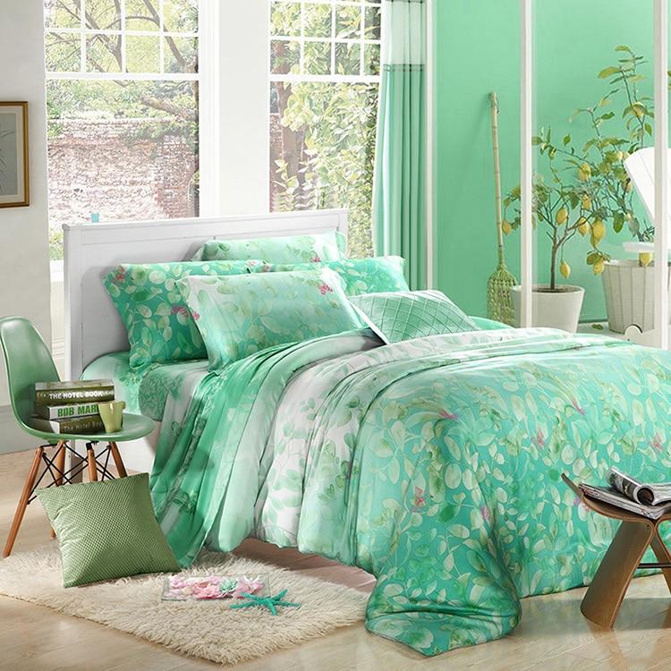 Mint Green Leaf Print Bedding Sets Luxury Queen King Size Silk Quilt Duvet Cover Sheet Bed Bedset Bedspread Bedsheets Bedroom In From Home