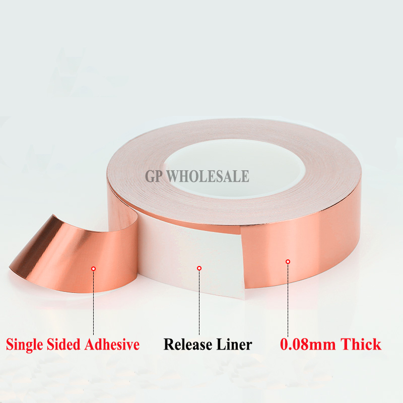 (0.08mm thick) 70mm*30M One Face Adhesive Conductive Copper Foil Electromagnetic wave shield Tape fit for PDA, Transformer