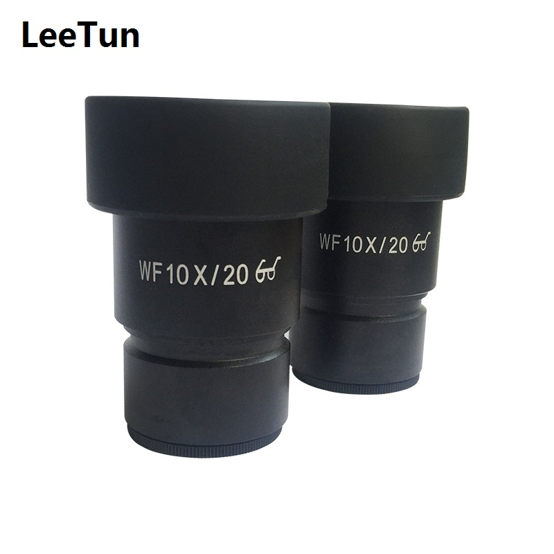 One Pair WF10X High Eye-point Eyepiece for Stereo Microscope Wide Field 20mm with Rubber Eye Cups Guard Mounting 30mm 30.5mm
