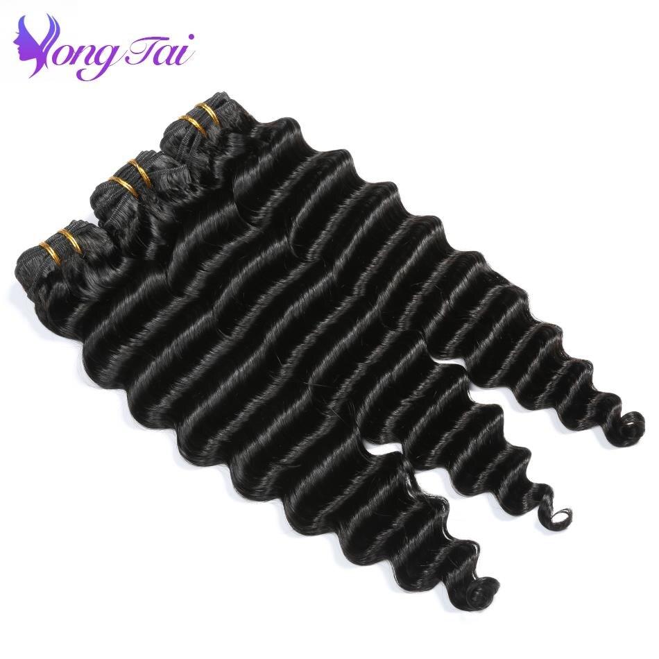 Yongtai Hair Deep Wave Peruvian Hair Weave Bundles Natural Black Non Remy Human Hair Weaving 8-30inch 3 Bundles Free Shipping