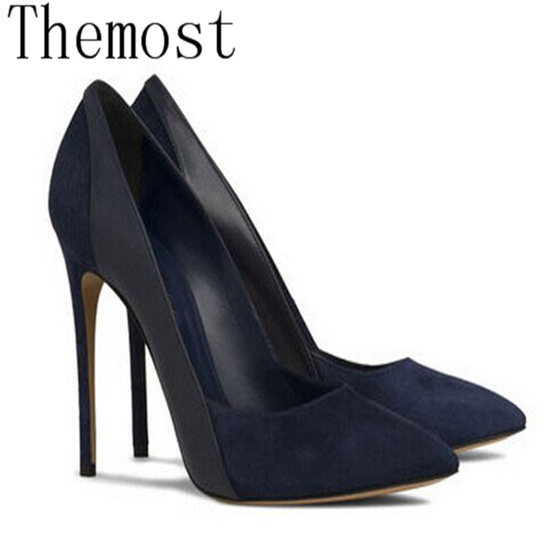 Dernier Size34 Haute Simples Themost Lady 12 Début Pointu Américain Cm Au Grand Du Européen Couture Talon Suède Printemps Et Chaussures Sexy 48 8q8aw0R