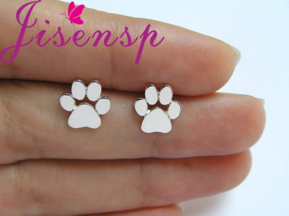 Jisensp New Fashion Cute Paw Print Earrings for Women Cat and Dog Paw Stud Earrings brincos 2017 E124