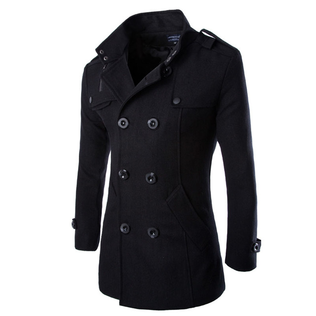 2016 Brand Clothing Spring Winter Jacket Men Duffle Coat Stylish Peacoat Double Breasted Mens Pea Coat Wool Trench Coat