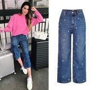 Frauen Lose Freunde Breites Bein Keucht Hohe Taille Mode Perle Nagelkornes Denim Jeans Frauen Persönlichkeit Vintage Retro Hosen