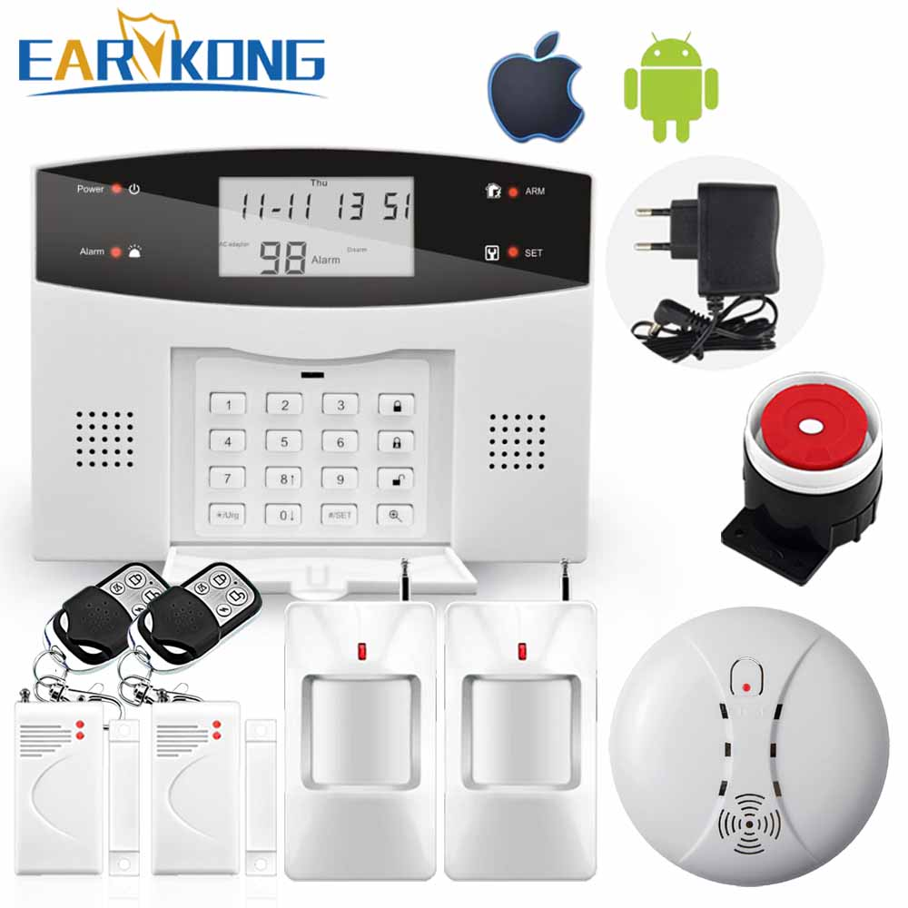 Free Shipping Wireless PSTN GSM alarm System M3B alarm with door detector and infrared detector, Russian Spanish French, English free shipping wireless network pstn gsm intercom fire smoke detector alarm system 99 wireless zone