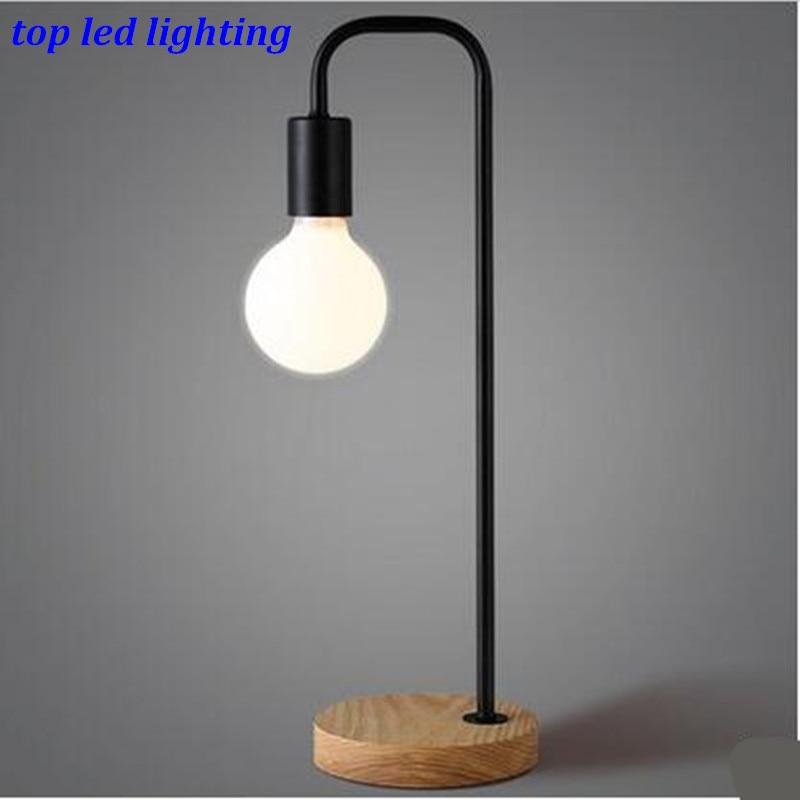 ФОТО Vintage Black/White Iron Wood Table Lamp for Bar Living Room Bedroom Led E27 Brief Desk Lamp AC 80-265V 1152