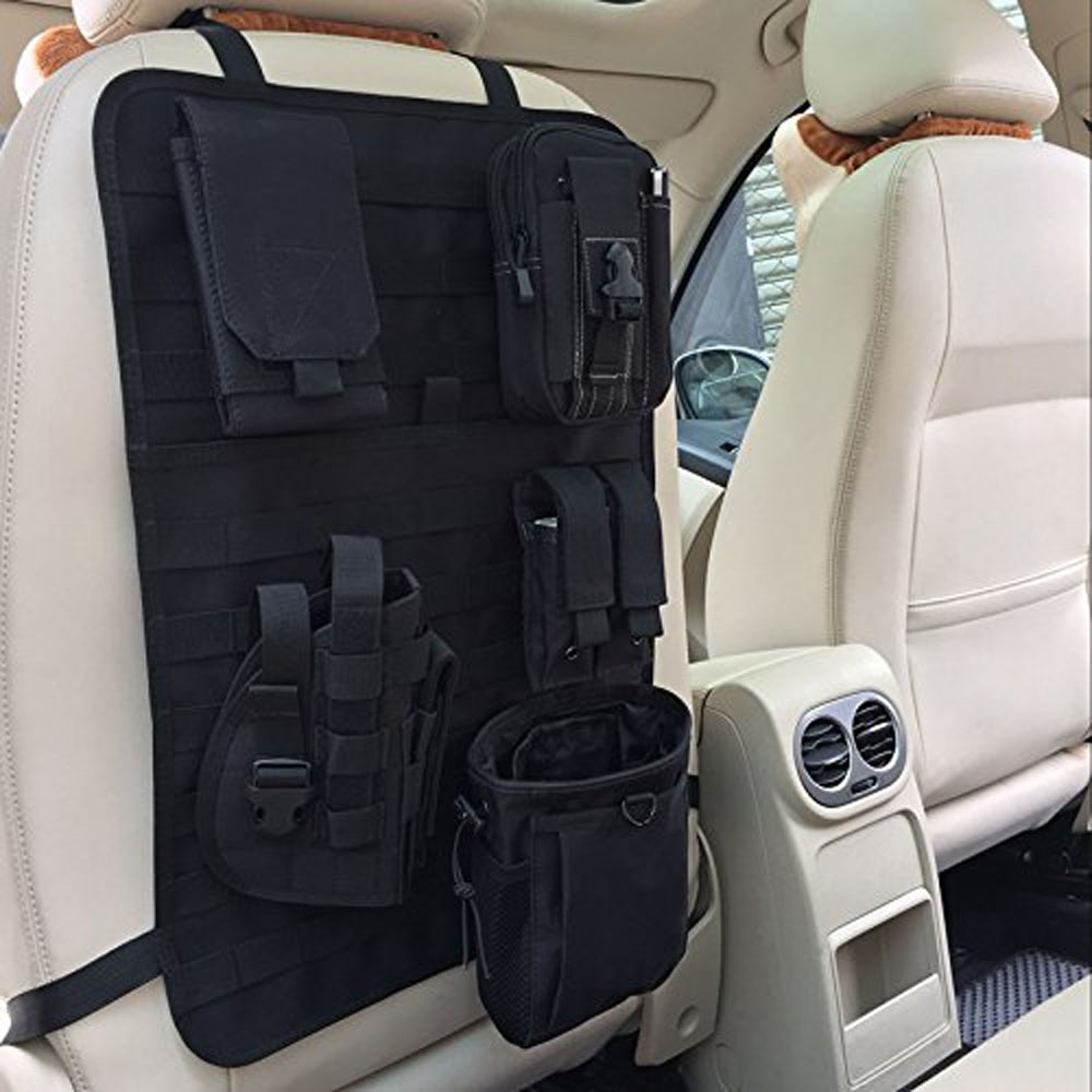 Tactical Car Seat Back Organizer MOLLE Vehicle Nylon Panel Cover Protector Hange