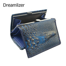 Mini Crocodile Leather Wallet Women Short Lovely Female Genuine Leather Purse 3D Designer Money Clip Carteira Feminina