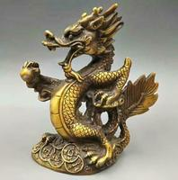 Exquisite Collectable Chinese Old Fengshui Twelve Zodiac Animal Bronze Dragon Statue Home Decoration