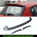 3 Pcs For BMW F20 Spoiler Performance 2012 - UP 1 Series 116i 120i 118i M135i F20 Carbon Fiber Rear Roof P Style F20 Top Spoiler