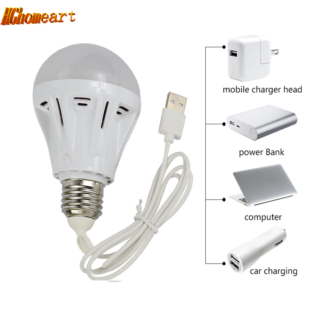 HGhomeart Portable 5V Power Bank USB Led light bulbs 3W 5W 7W LED Lamp Bulb Lighting Light-emitting Diode Led energy-saving lamp 10w 12w ultra violet uv 365nm 380nm 395nm high power led emitting diode on 20mm cooper star pcb