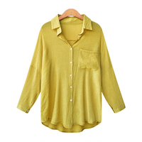 Europe And America Spring New Style Turn Dowm Collar Drop Shoulder Blouse Women S Dress Solid