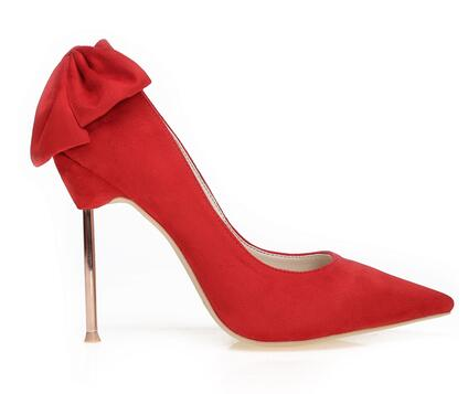 Elegant butterfly-knot pointed toe high heel pumps for women Ladies'shallow thin heel shoes Red wedding shoes Dress shoes