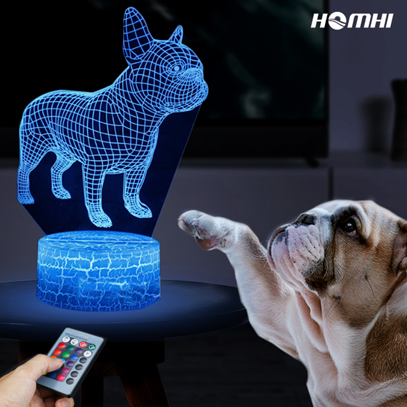Dog 3D Night Lamp puppy LED table decorate light Novelty colorful remote control touch sensor light creative Christmas gift creative tractor shaped 3d led desk light colorful car night light remote control indoor lighting acrylic table lamp wholesale