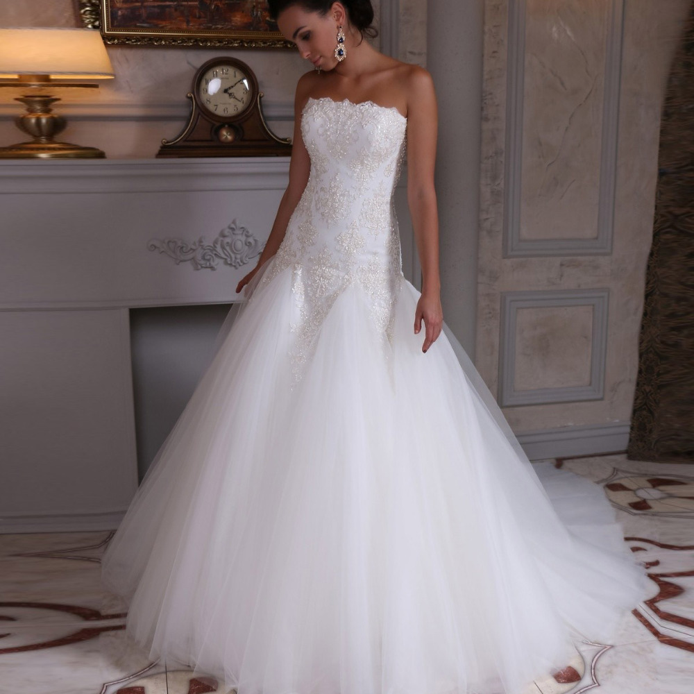Bride Gowns 2015: Casamento Mermaid Wedding Dress Lace Up Back Vestido De