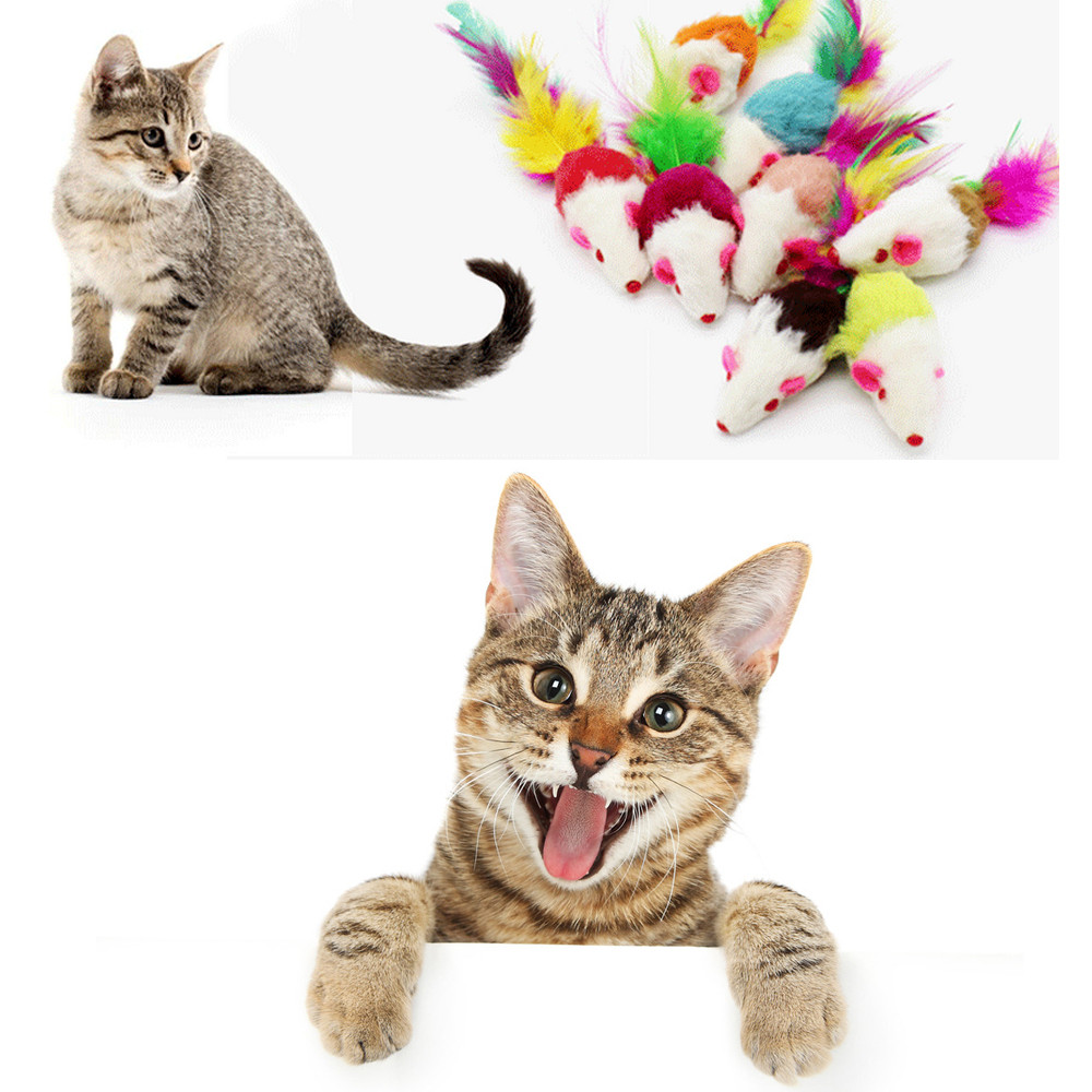 2018 Hot sale Furry Mouse Cat Kitten Real Fur Gravel Sounds Cute Toy Faux For Small Rodent Mice Cat Toys