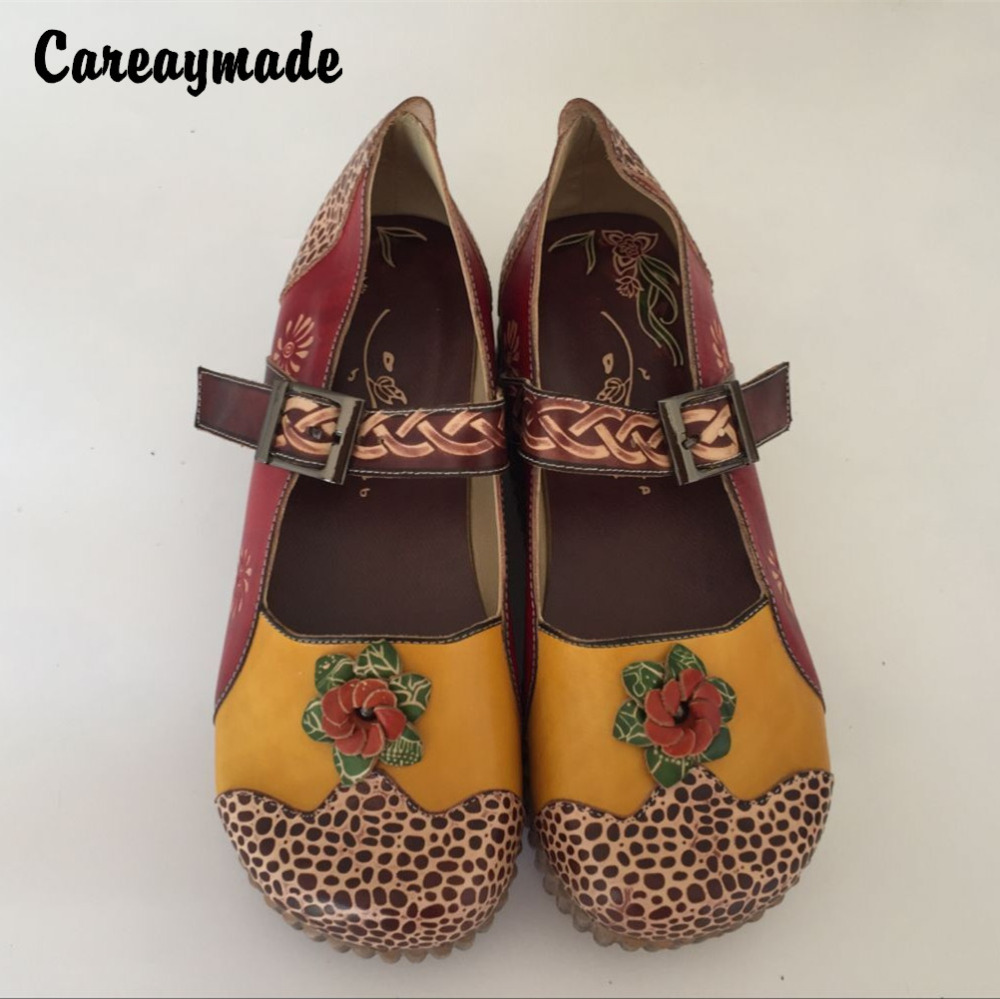 Careaymade-Folk style Head layer cowhide pure handmade Carved shoes,the retro art mori girl shoes,Women's casual Sandals,1510-21 free shipping 10pcs 1203p100 dip7