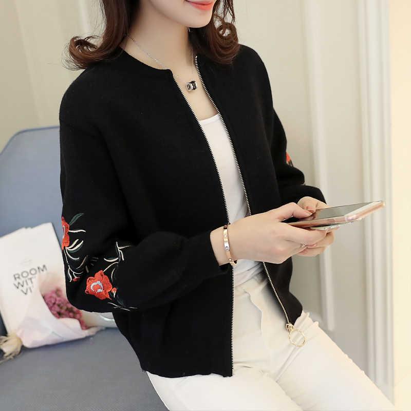 Вязаный кардиган свитер женский короткий толстый Свободный корейский студенческий Весной 2017 новое весеннее пальто и вышивка