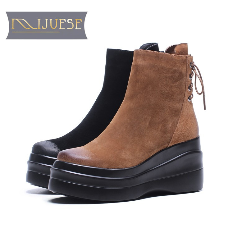 MLJUESE 2018 women ankle boots pigskin brown color high heels autumn spring platform ankle boots female boots martin boots