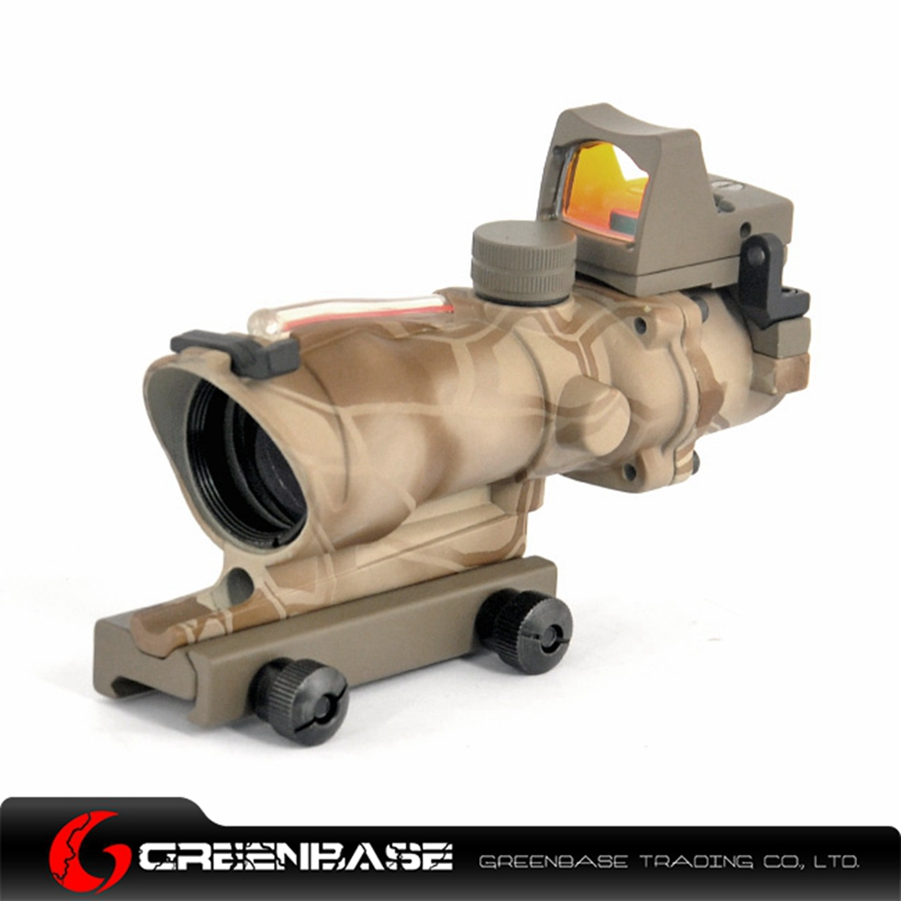 Greenabse Triji ACOG Scope 4X32 Real Fiber Red Illuminated Crosshair Rifle Optics For m4a1 Air Rifle tactical trijicon acog style 4x32 real fiber optics red illuminated crosshair scope w rmr micro red dot hunting riflescopes
