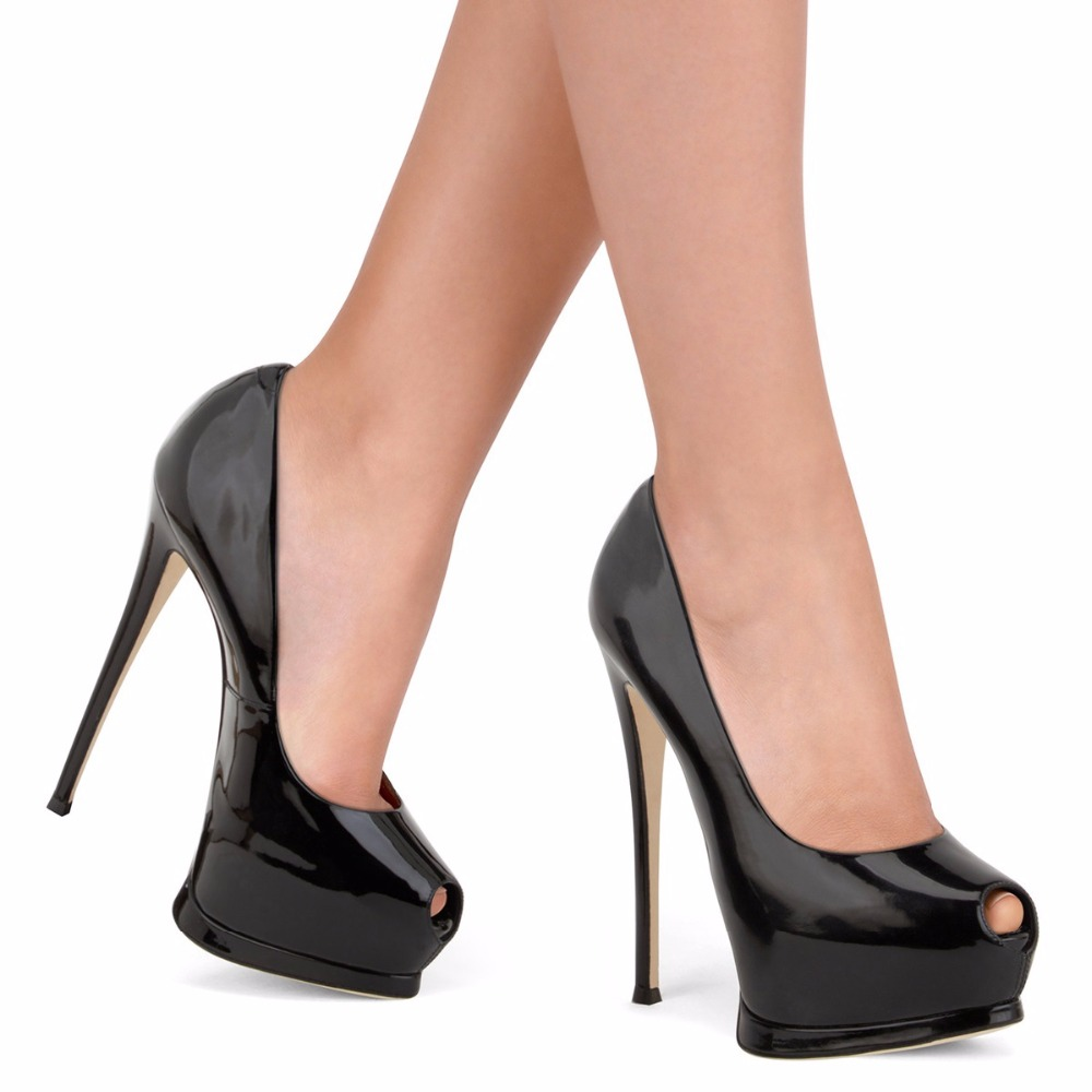a57daad86 Escarpins Femme 2018 Extrema Salto Alto Peep Toe de Couro de Patente Saltos  pretos Mulheres Plataforma Elegante Sapatos de Salto Alto Tamanho Grande 45  em ...