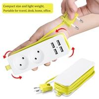 Rdxone EU Plug Travel Power Strip Portable Extension Socket Outlet with 4 USB Wall Charger Smart Desktop Socket