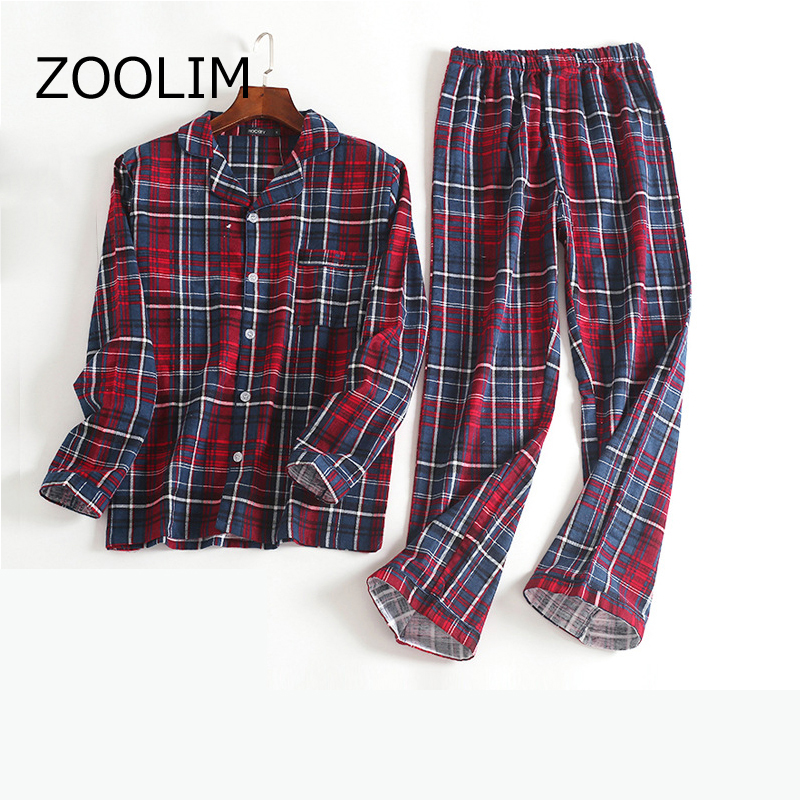 ZOOLIM 2018 Autumn Winter Men Pajamas Sets With Pants Pajamas 100% Cotton Pijama Male Night Suit Long Sleeve Sleepwear Pyjama