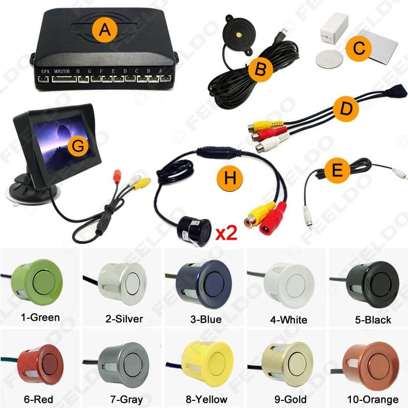 Car 4.3 Windshield Monitor 8-Sensor Parking Sensor 2x 18.5mm CCD Camera Dual Rearview Video Parking System #FD-2000