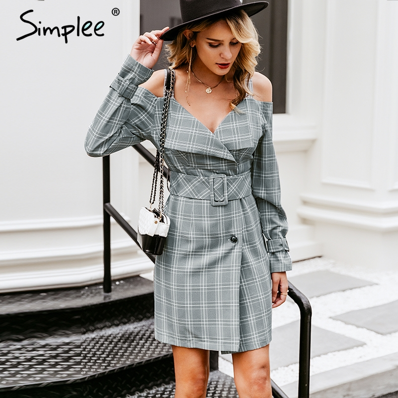 Simplee V-neck plaid sash belt women dress Spaghetti strap button office ladies dress Autumn winter female short party dress