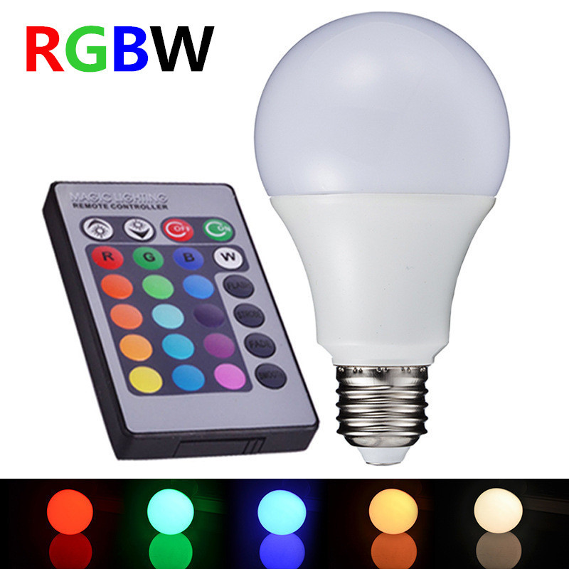 E27 10W RGBW LED Bulb ball Light RGB W LED Color desk Lamp downlight droplight Remote Controller Colorful Stage Lamp AC85-265V zhishunjia ip66 10w 900lm led 7 color project light w remote controller grey black 85 265v