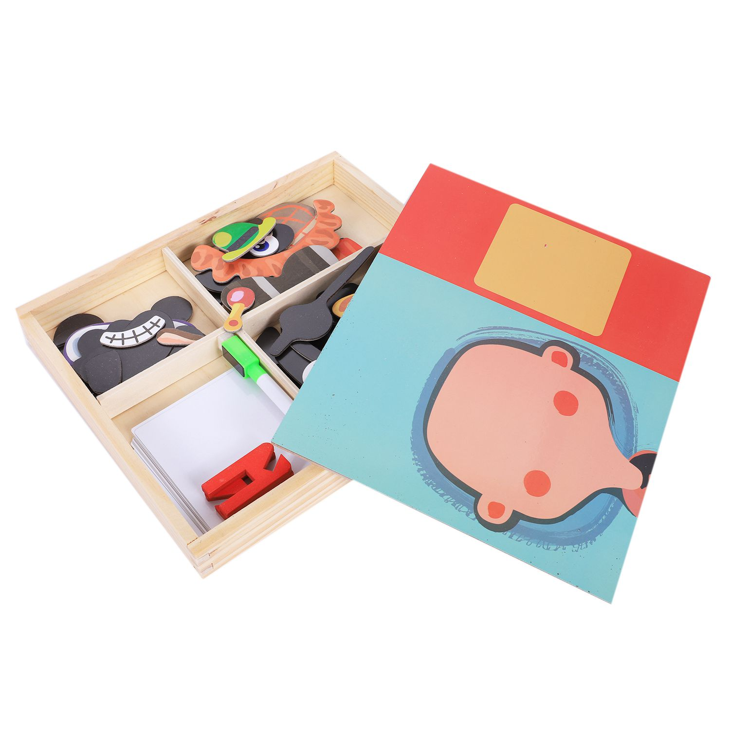 MWZ Magnetic Fun Jigsaw Children Wooden Puzzle Board Box Pieces Games Cartoon Educational Drawing Baby Toys For Girls Boys, Pe