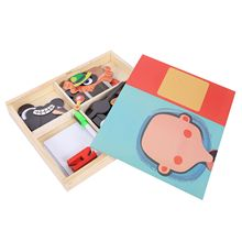 MWZ magnetic fun jigsaw children wooden puzzle board box pieces games cartoon educational drawing baby toys for girls boys, Pe недорого