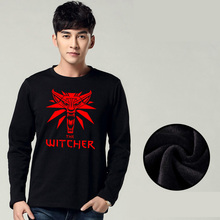 Mens Casual Game The Witcher 3: Wild Hunt Logo Wolf Head Long Sleeve Thick O-Neck Fleece Cotton Hoodies Tops