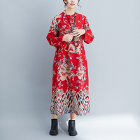 P Ammy Vintage Women's printed Plate buckle Dress Fall Fashion Cotton & Linen Long Sleeve Casual Loose Dress Plus Size