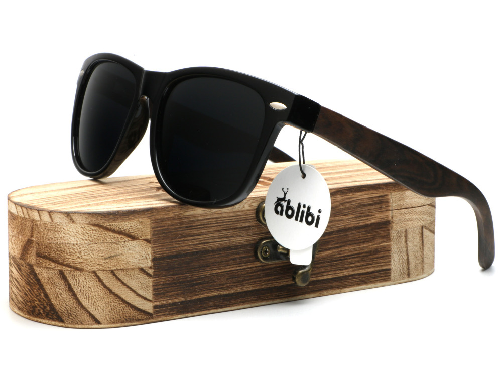Ablibi 1501 Wood Sunglasses Polarized Shades for Mens Designer Driving Retro Wooden Eyewear lentes de sol de mujer in Wood Case