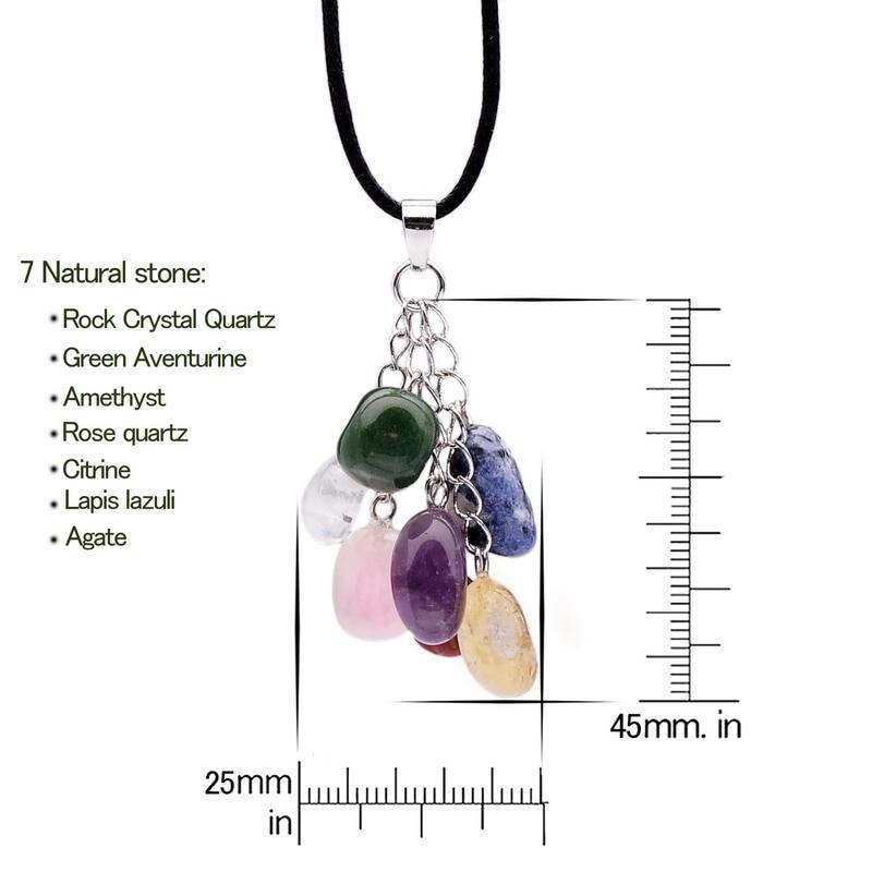 Qilmily 7 Chakra Təbii Daş Kristal Kulon Boyunbağı, Kişilər - Moda zərgərlik - Fotoqrafiya 5
