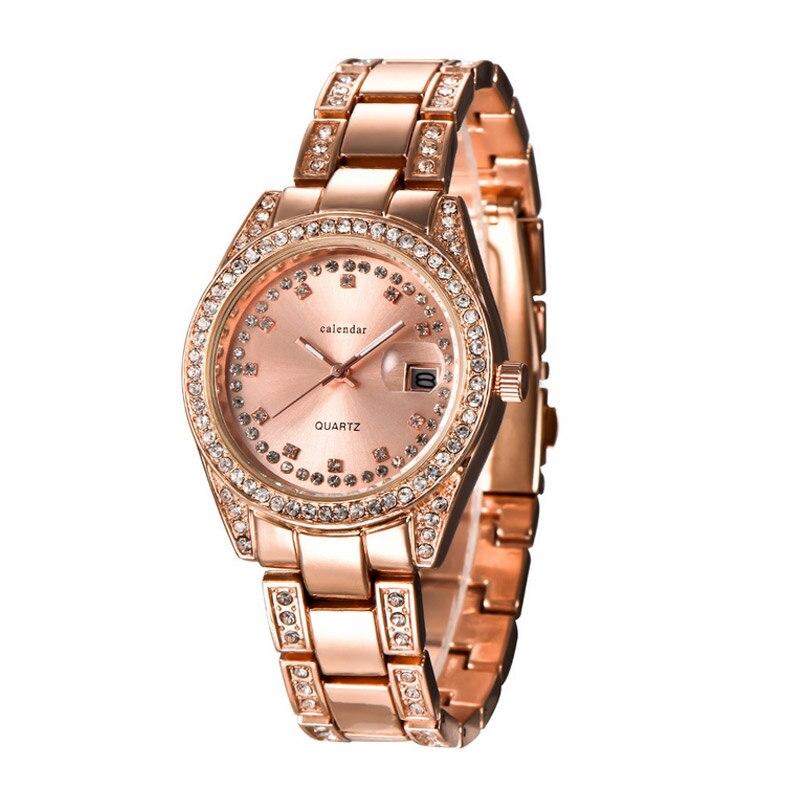 Fashion Women Quartz Bracelet Watch Rhinestone Watches Stainless Steel Strap Wristwatch Date Clock Gifts LXH fashion stainless steel bracelet