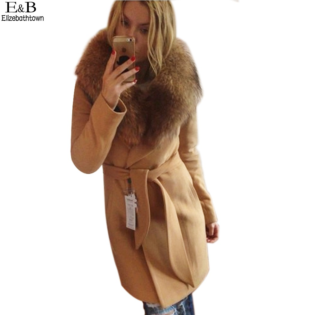 winter women's big fur collar Plus Size Wool Coat long ...