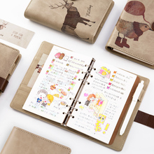 CAGIE Cute Notebook A6 Diary Spiral Daily Planner Notebook Leather Journal Kawaii