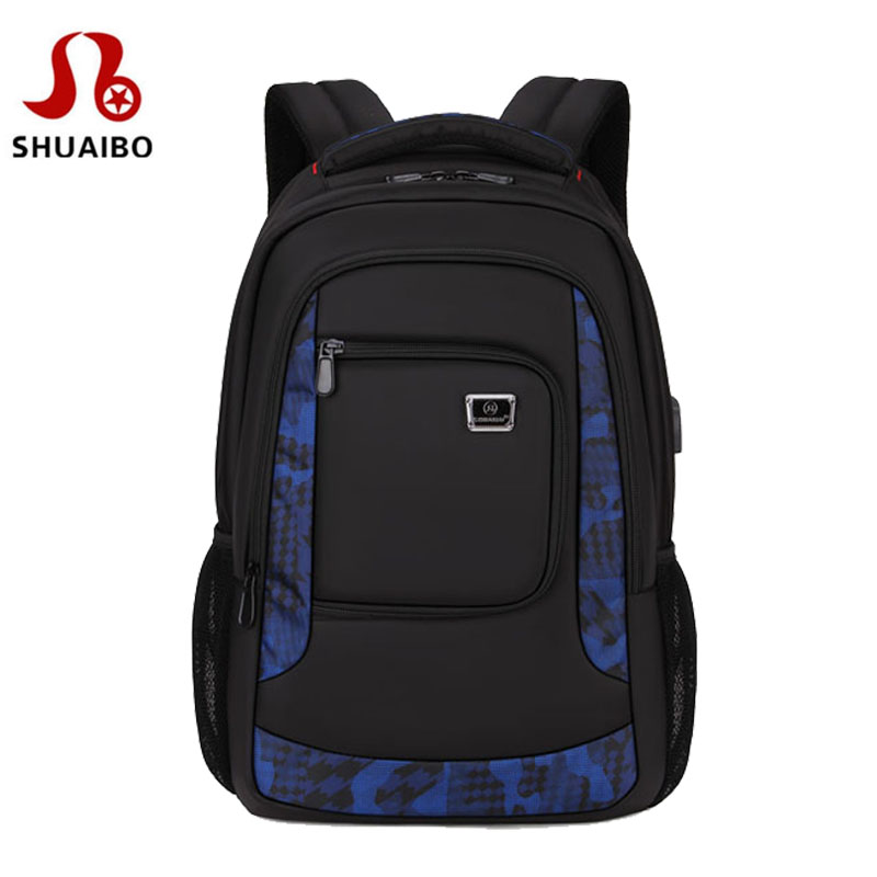 SHUAIBO Men's Nylon Backpack External USB Charge 16 inch Computer Backpack laptop notebook bags Men school Rechargeable backpack 14 15 15 6 inch flax linen laptop notebook backpack bags case school backpack for travel shopping climbing men women