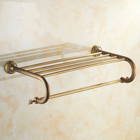 Copper Hotel Fixed Bath Towel Racks Bars Vintage Retro Single Towel Bars Holder Wall Brass Antique