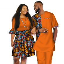 African Dashiki Print Two Piece Set For Couple. Men's tops and pant Plus Women's Dress